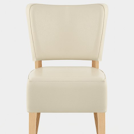 Ramsay Oak Dining Chair Cream Leather Seat Image