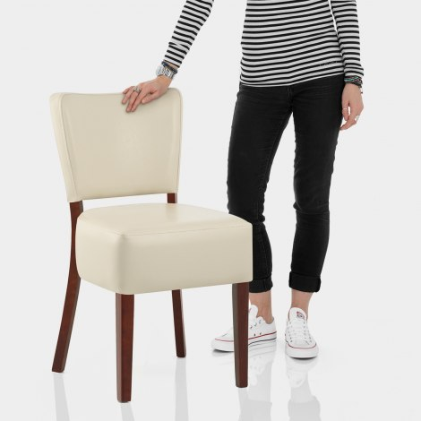 Ramsay Walnut Dining Chair Cream Leather Features Image