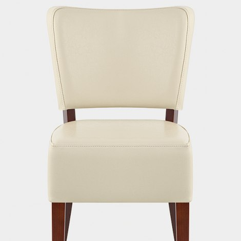 Ramsay Walnut Dining Chair Cream Leather Seat Image
