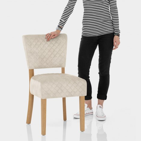 Ramsay Oak Dining Chair Beige Velvet Features Image
