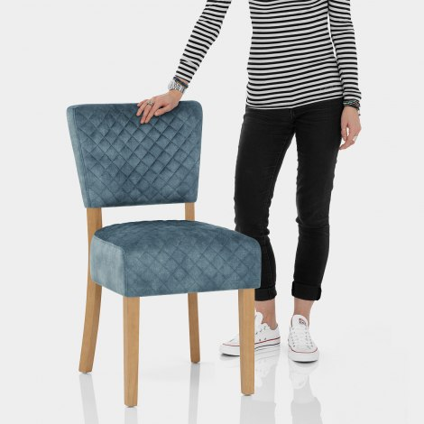 Ramsay Oak Dining Chair Blue Velvet Features Image
