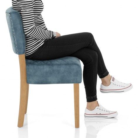 Ramsay Oak Dining Chair Blue Velvet Frame Image