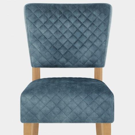 Ramsay Oak Dining Chair Blue Velvet Seat Image