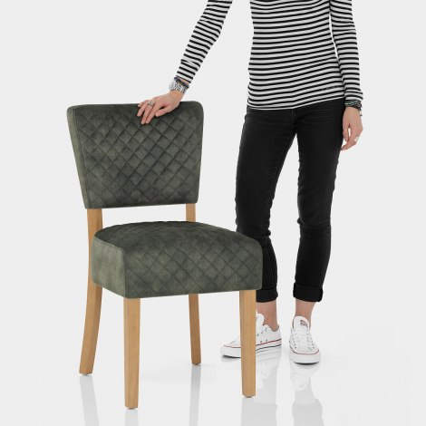 Ramsay Oak Dining Chair Green Velvet Features Image