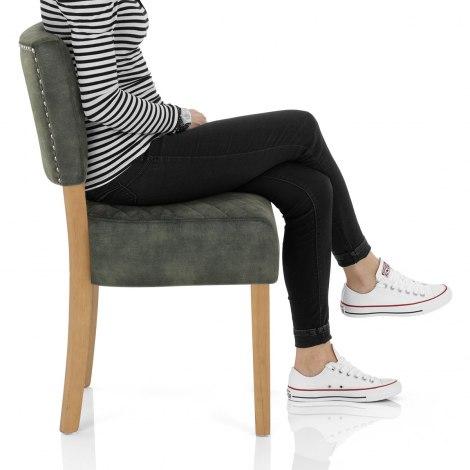 Ramsay Oak Dining Chair Green Velvet Seat Image