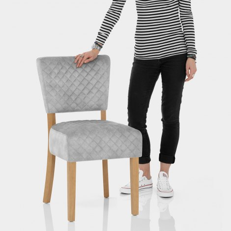 Ramsay Oak Dining Chair Grey Velvet Features Image