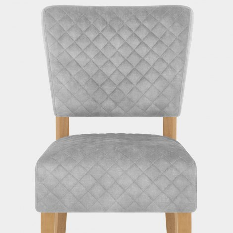 Ramsay Oak Dining Chair Grey Velvet Seat Image