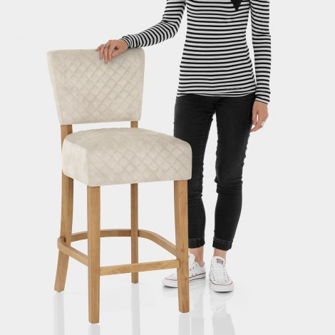 Ramsay Oak Bar Stool Beige Velvet Features Image