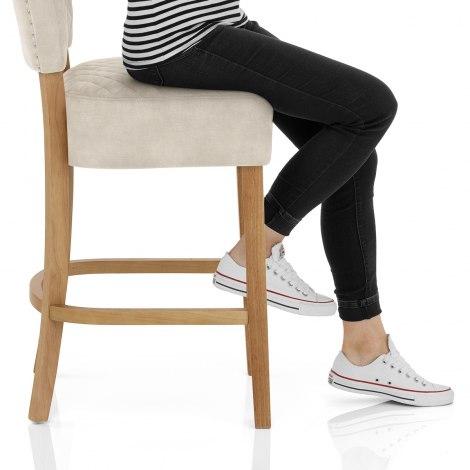 Ramsay Oak Bar Stool Beige Velvet Seat Image