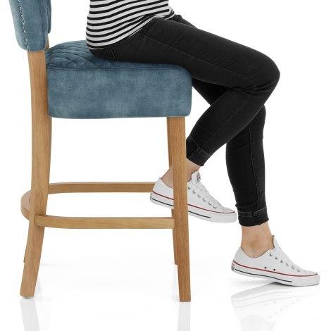 Ramsay Oak Bar Stool Blue Velvet Seat Image