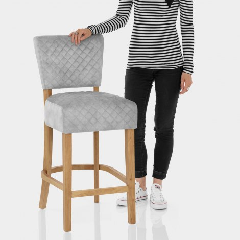 Ramsay Oak Bar Stool Grey Velvet Features Image