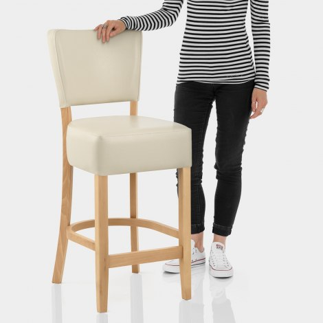 Ramsay Oak Stool Cream Leather Features Image