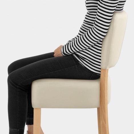 Ramsay Oak Stool Cream Leather Seat Image