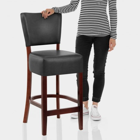 Ramsay Walnut Stool Black Leather Features Image