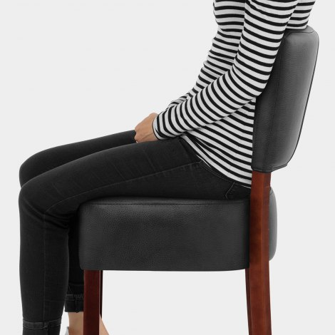 Ramsay Walnut Stool Black Leather Seat Image