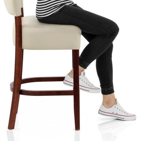 Ramsay Walnut Stool Cream Leather Seat Image