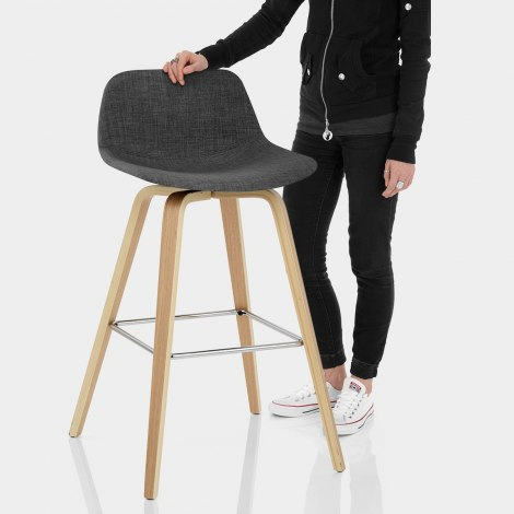 Reef Wooden Stool Charcoal Fabric Features Image
