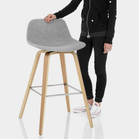 Reef Wooden Stool Grey Fabric Features Image