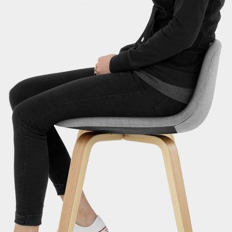 Reef Wooden Stool Grey Fabric Seat Image