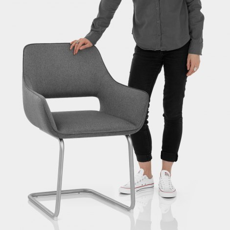 Remix Dining Chair Grey Fabric Features Image