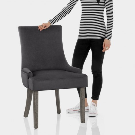 Richmond Grey Oak Chair Charcoal Fabric Features Image