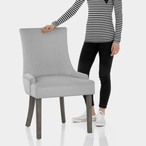 Richmond Grey Oak Chair Grey Fabric Features Image
