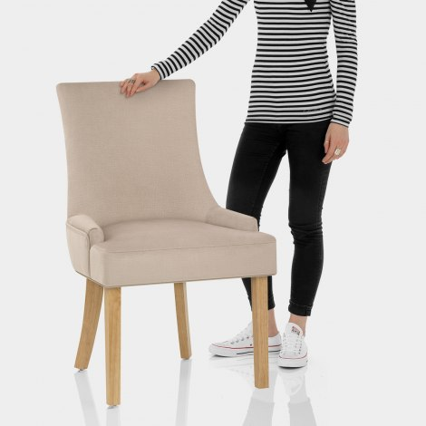Richmond Oak Dining Chair Beige Fabric Features Image