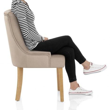 Richmond Oak Dining Chair Beige Fabric Frame Image