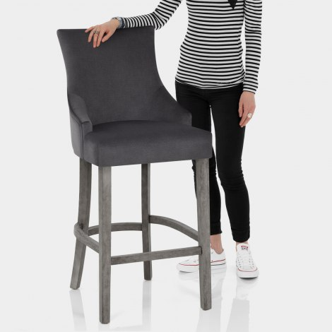 Richmond Grey Oak Stool Charcoal Fabric Features Image