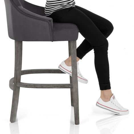 Richmond Grey Oak Stool Charcoal Fabric Seat Image