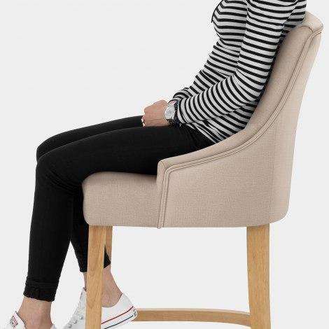 Richmond Oak Bar Stool Beige Fabric Seat Image