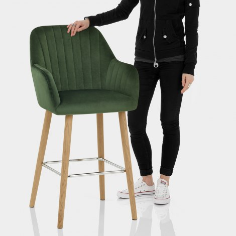 Rio Wooden Stool Green Velvet Features Image