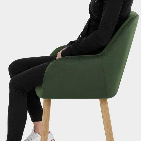 Rio Wooden Stool Green Velvet Seat Image