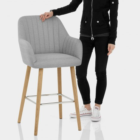Rio Wooden Stool Grey Fabric Features Image