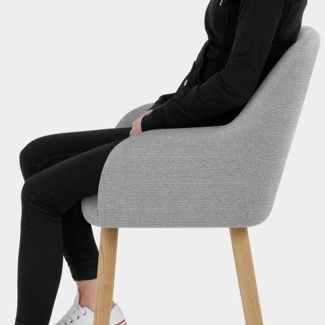 Rio Wooden Stool Grey Fabric Seat Image