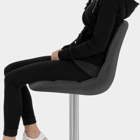 Rochelle Brushed Steel Stool Black Seat Image