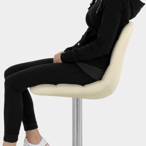 Rochelle Brushed Steel Stool Cream Seat Image