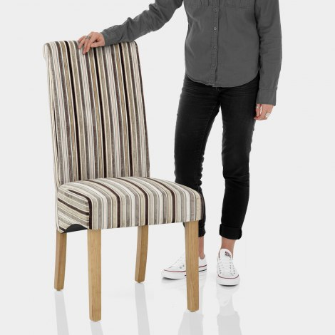 Roma Dining Chair Oak & Stripe Features Image