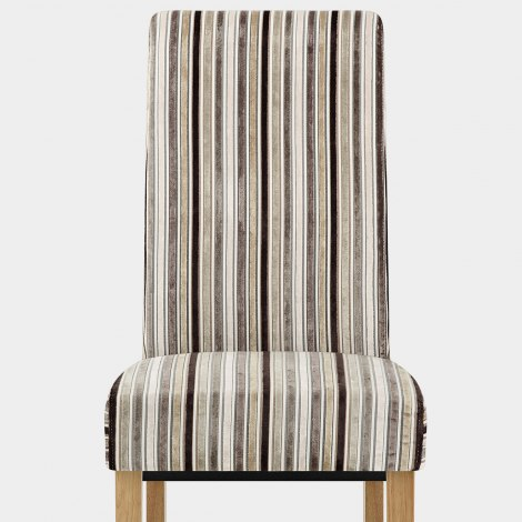 Roma Dining Chair Oak & Stripe Seat Image