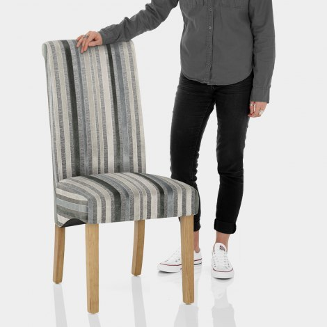 Roma Oak Dining Chair Cambridge Stripe Features Image
