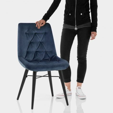 Roxy Dining Chair Blue Velvet Features Image