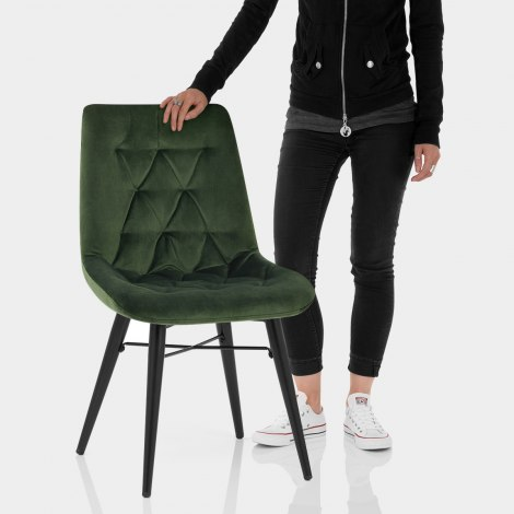 Roxy Dining Chair Green Velvet Features Image