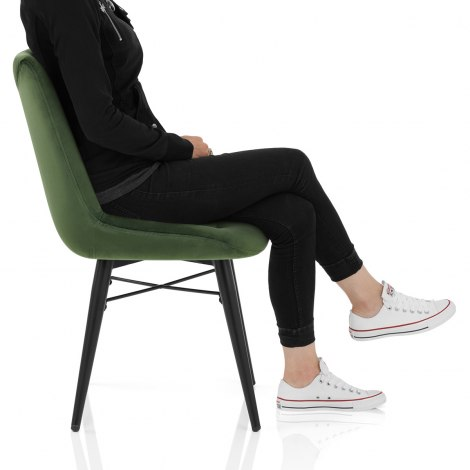 Roxy Dining Chair Green Velvet Seat Image