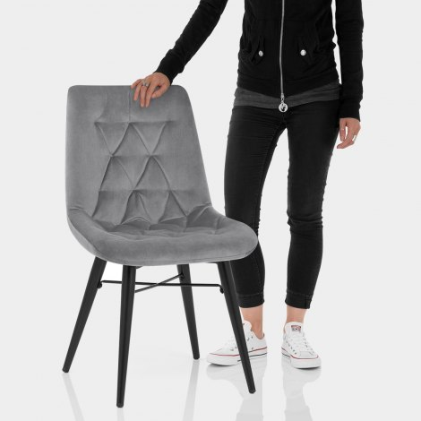 Roxy Dining Chair Grey Velvet Features Image