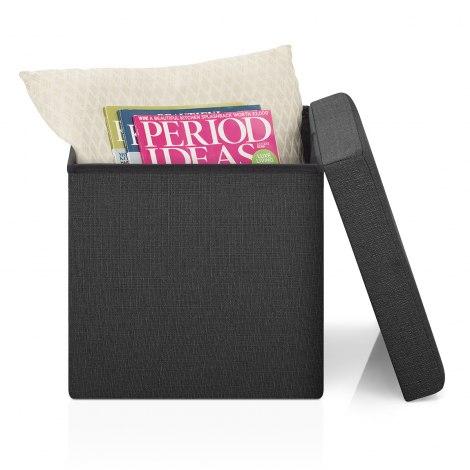 Rubic Foldaway Ottoman Black Fabric Seat Image