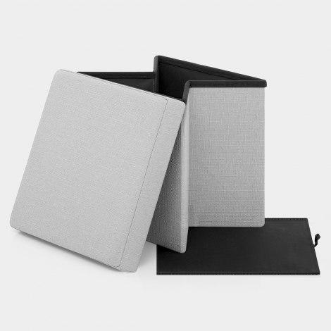 Rubic Foldaway Ottoman Grey Fabric Features Image