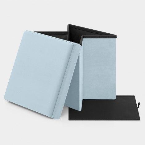 Rubic Foldaway Ottoman Blue Velvet Features Image