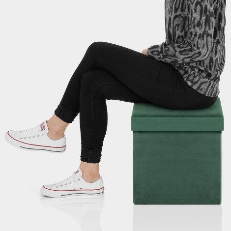 Rubic Foldaway Ottoman Green Velvet Seat Image