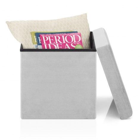 Rubic Foldaway Ottoman Grey Velvet Seat Image