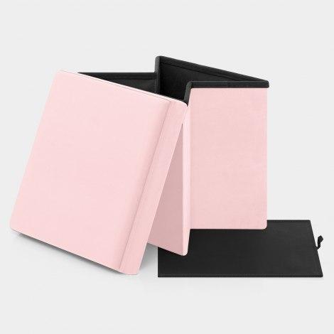 Rubic Foldaway Ottoman Pink Velvet Features Image
